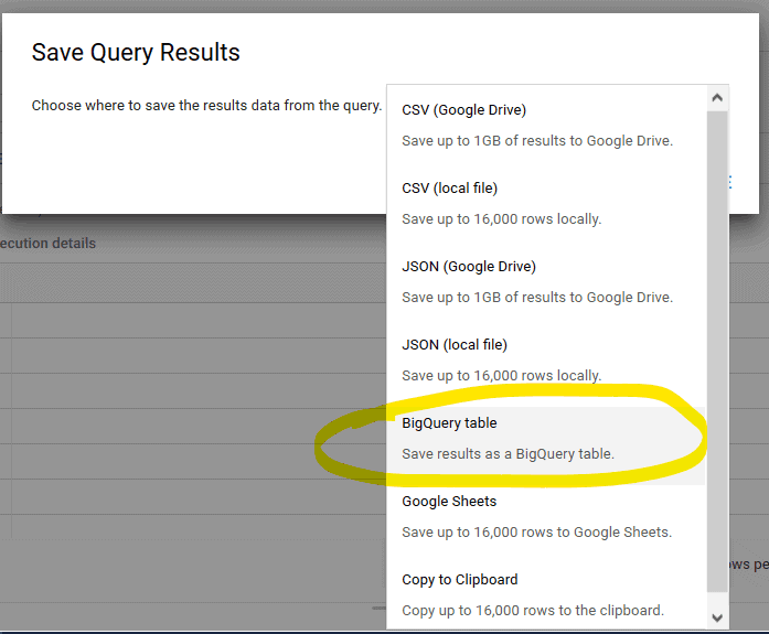 Save results on BigQuery